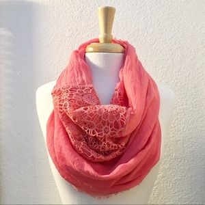 NWT, Coral Crinkle Crepe & Lace Infinity Scarf
